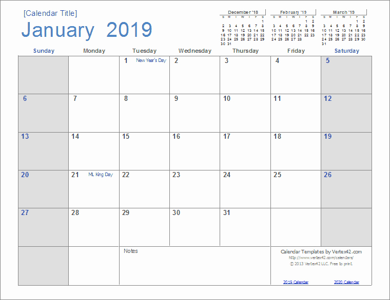 Monthly Calendar Template 2019 Unique 2019 Calendar Templates and