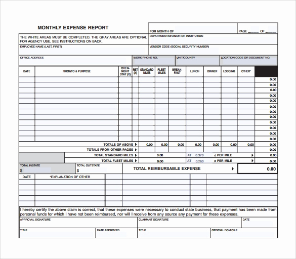 Monthly Expense Report Template Best Of Sample Expense Report Sample 13 Free Documents In Pdf
