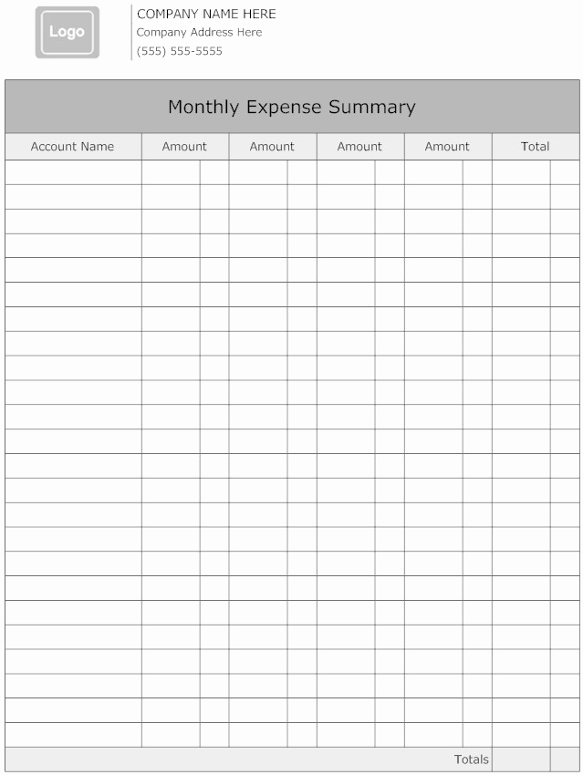 Monthly Expense Report Template Fresh Blank and Editable Monthly Business Expense Report