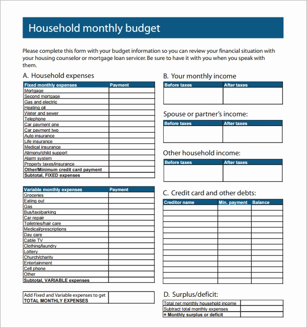 Monthly Household Budget Template Luxury Sample Family Bud 10 Documents In Pdf Excel Word