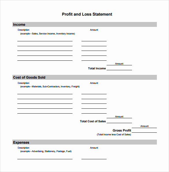 Monthly Profit and Loss Template Inspirational 20 Sample Profit and Loss Templates Docs Pdf Apple