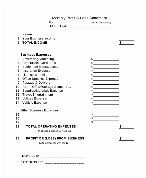 Monthly Profit and Loss Template Unique Sample Profit and Loss Statement 14 Documents In Pdf