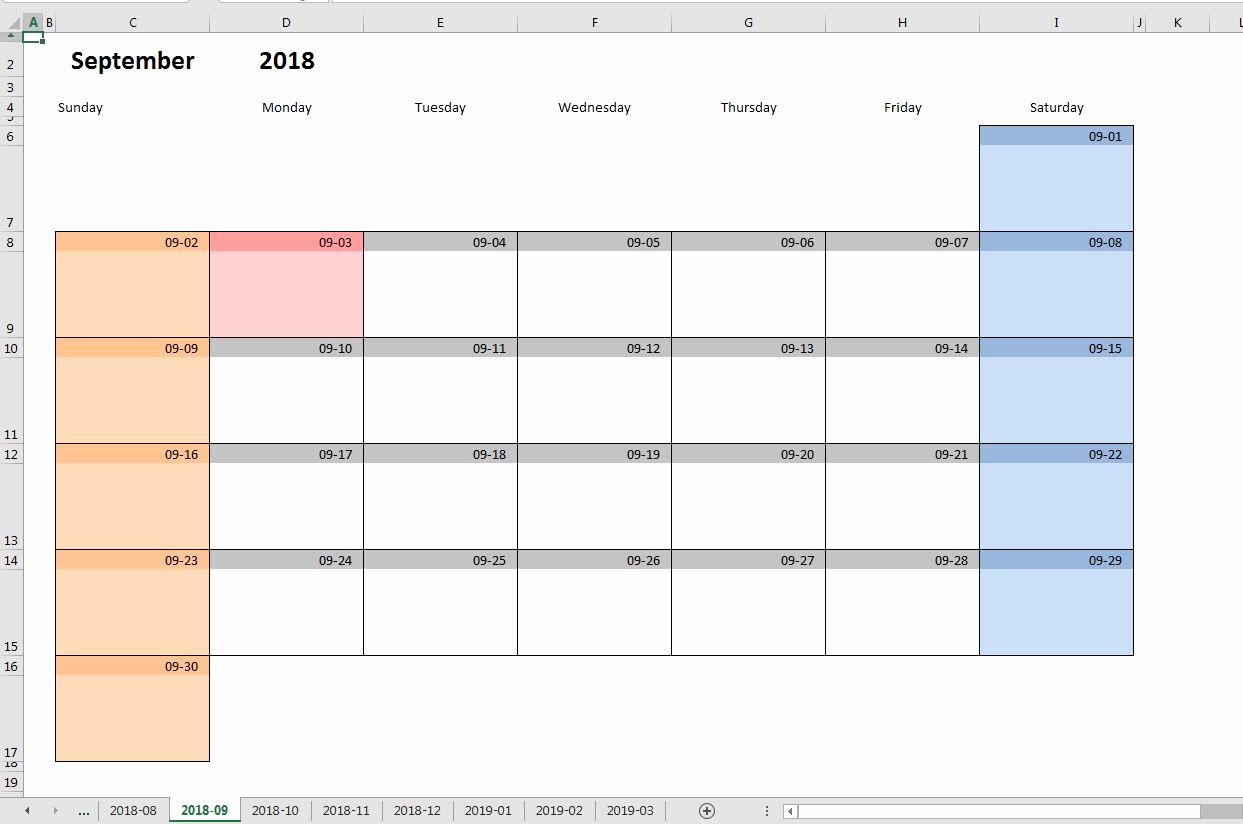 Monthly Schedule Template Excel Awesome Printable Monthly Calendar Template for Excel