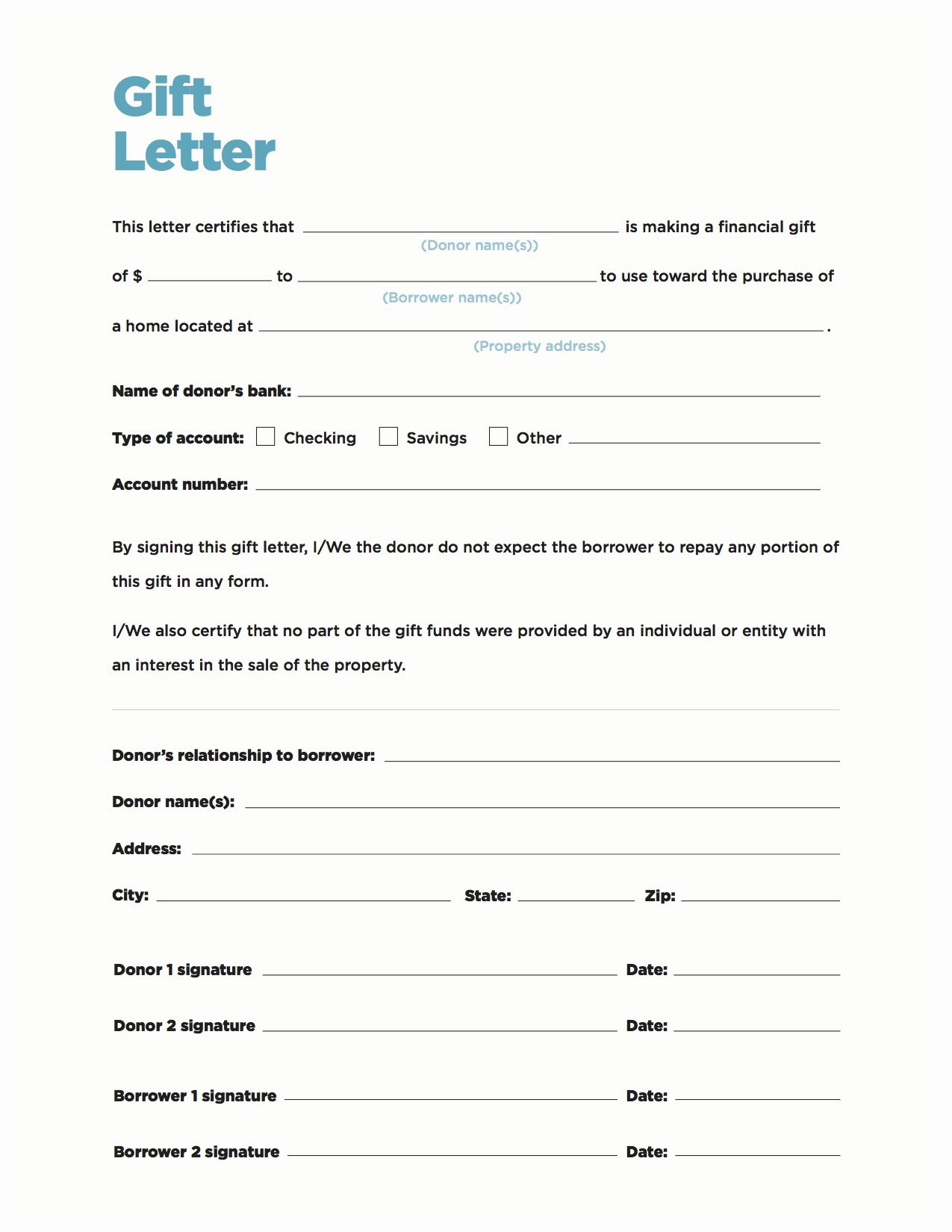 Mortgage Gift Letter Template Fresh Gift Money Can Meet Your Down Payment Needs Nerdwallet