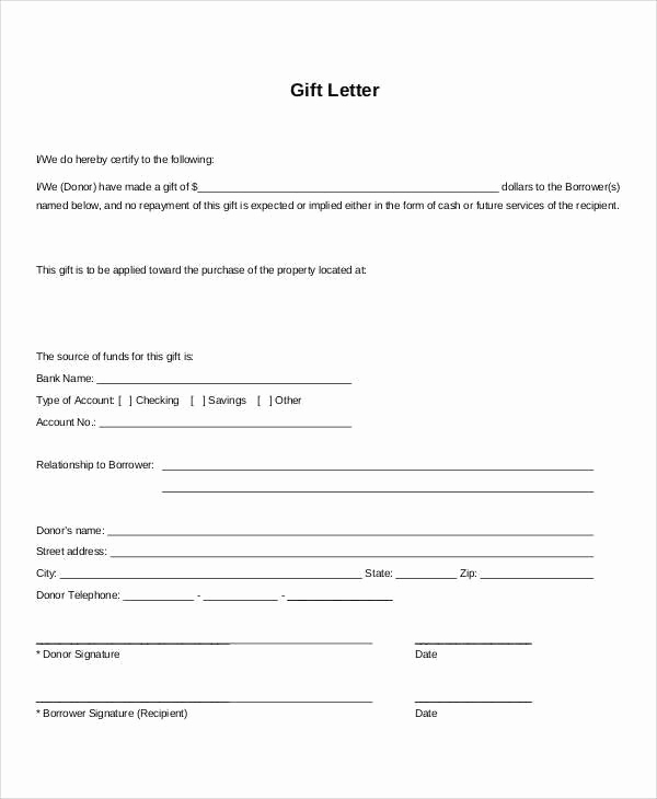 Mortgage Gift Letter Template Fresh Mortgage Gift Letter Template the Reasons why We Love