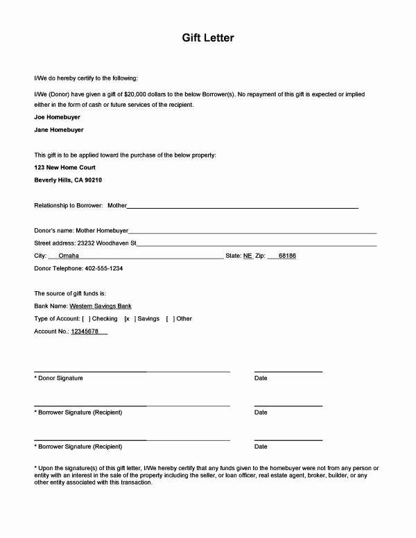 Mortgage Gift Letter Template Unique Download A Sample Gift Letter form