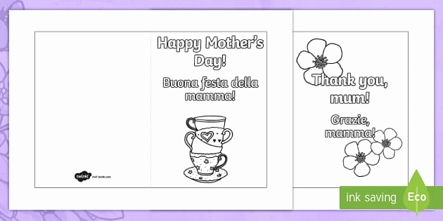 Mothers Day Card Template Best Of Mother S Day Card Templates Colouring English Italian