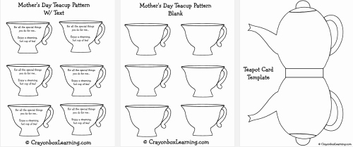 Mothers Day Card Template Best Of Mother S Day Teapot Card Template Think Crafts by