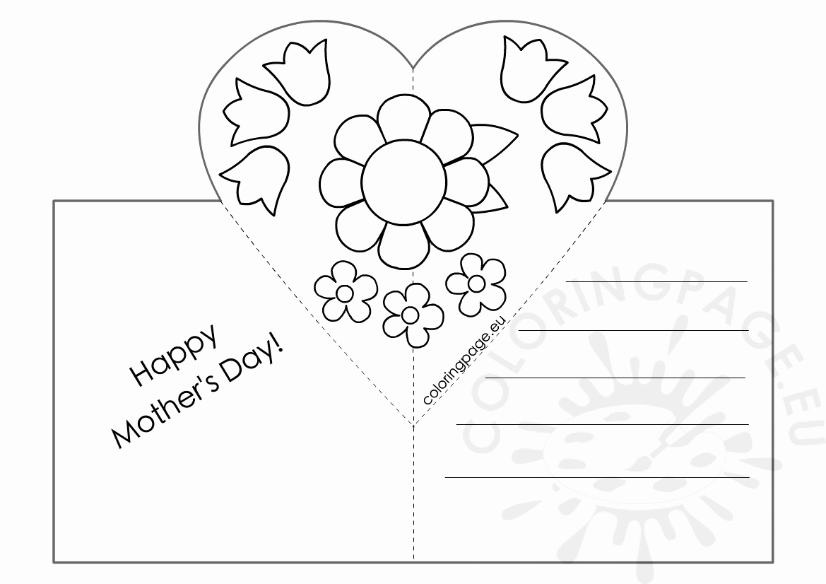 Mothers Day Card Template Unique Mothers Day Card with Heart Pop Up Template – Coloring Page