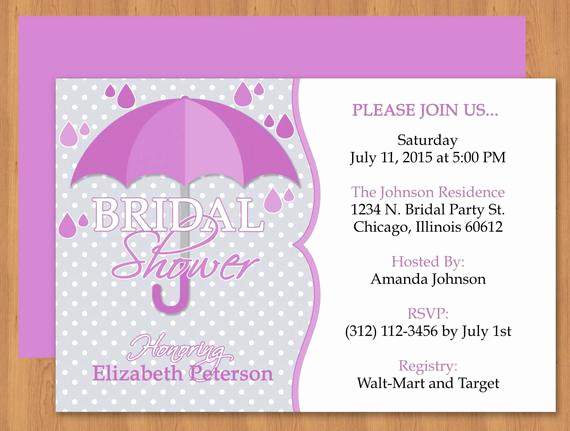Ms Word Invitation Template Awesome Purple Umbrella Bridal Shower Invitation Editable Template