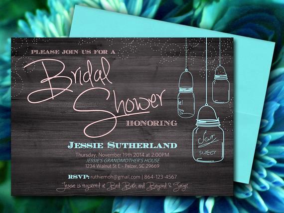 Ms Word Invitation Template Beautiful Mason Jar Wood Bridal Shower Invitation Rustic Wedding Shower