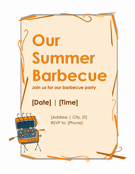 Ms Word Invitation Template Inspirational Bbq Party Invitation Template – Microsoft Word Templates