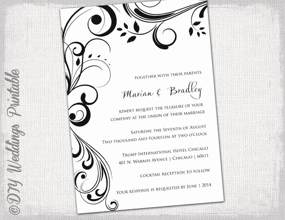 Ms Word Invitation Template Inspirational Wedding Invitation Templates Black and White