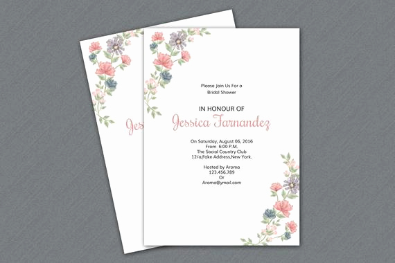 Ms Word Invitation Template Luxury Bridal Shower Invitation Template Printable Floral Wedding