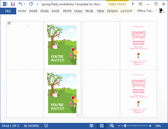 Ms Word Invitation Templates Beautiful Spring Party Invitation Template for Word