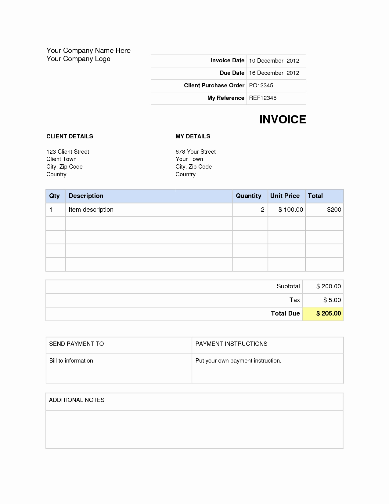 Ms Word Invoice Template Beautiful Invoice Template Word 2007