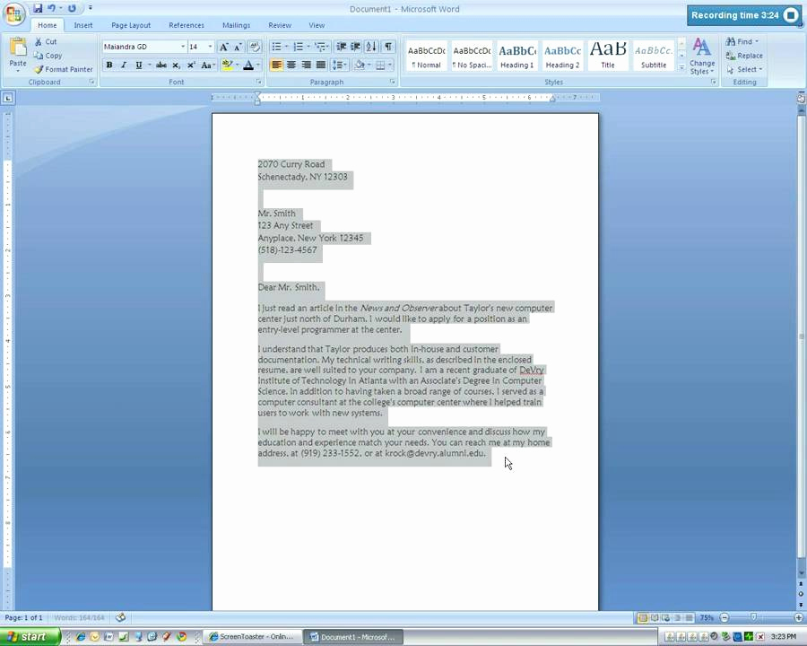 Ms Word Letter Templates Luxury Microsoft Word 2007 Business Letter Tutorial4