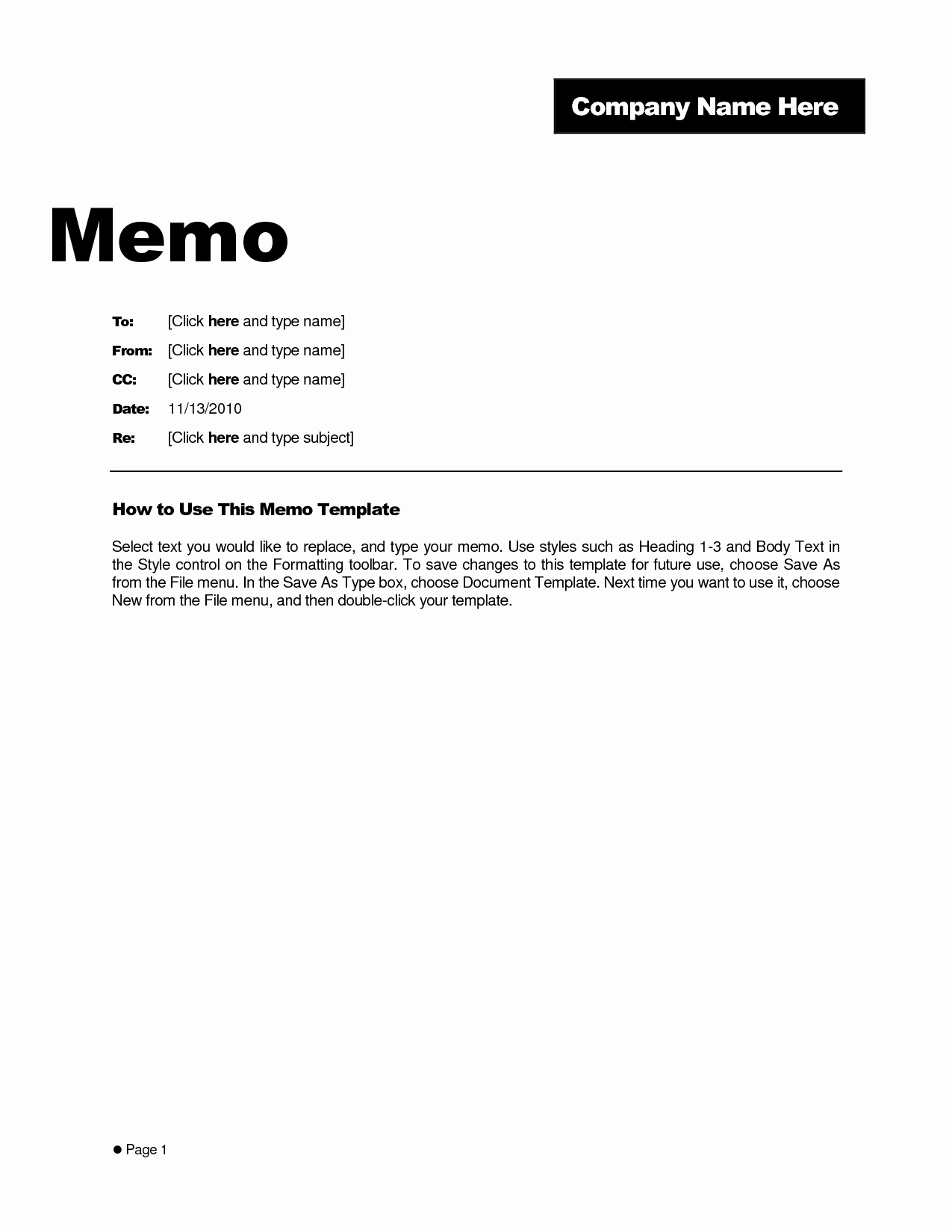Ms Word Memo Templates Awesome Business Memo format Microsoft Word