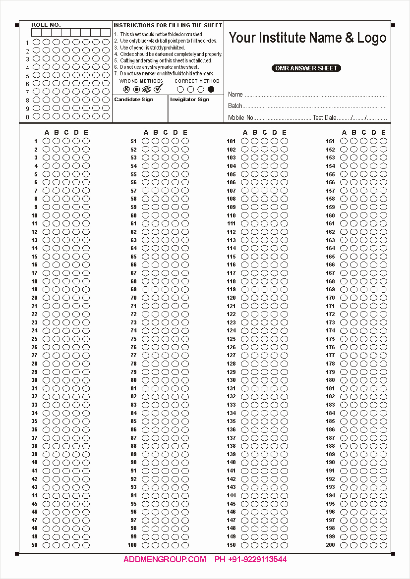 Multiple Choice Answer Sheet Awesome Omr Sheet Download