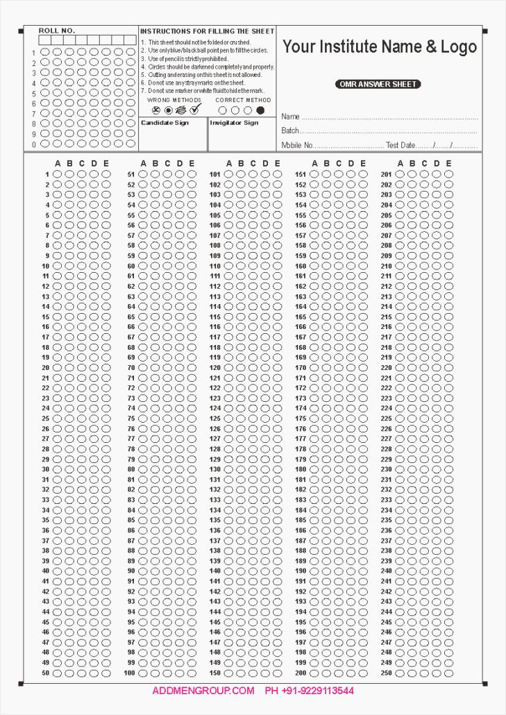 Multiple Choice Answer Sheet Beautiful Answer Sheet 1 100 – Dailypoll