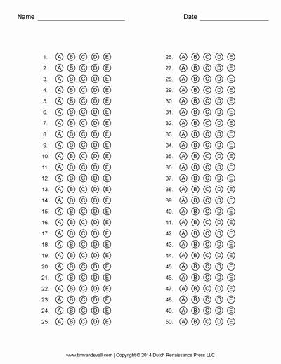 Multiple Choice Answer Sheet Beautiful Answer Sheet Template