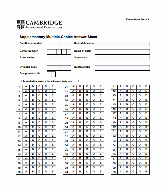 Multiple Choice Answer Sheet Best Of 11 Answer Sheet Templates Pdf Doc