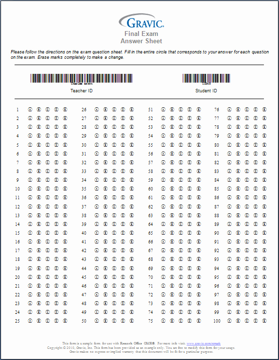 Multiple Choice Answer Sheet Unique Printable 100 Question Answer Sheet
