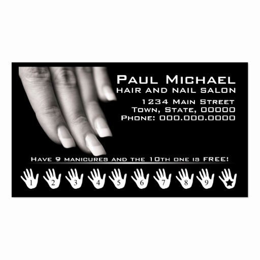 Nail Salon Business Cards Luxury Customer Loyalty Cards