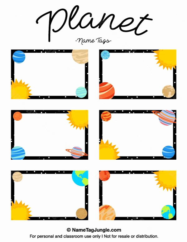 Name Tag Template Free Awesome Free Printable Planet Name Tags the Template Can Also Be