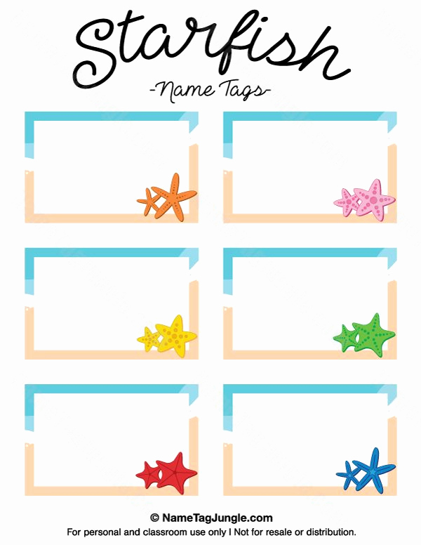 Name Tag Template Free Beautiful Free Printable Starfish Name Tags the Template Can Also