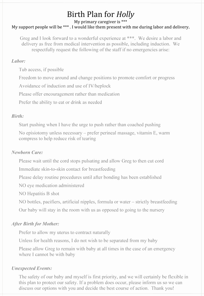 Natural Birth Plan Template Best Of Natural Childbirth Birth Plan Pretty Close to What I Want