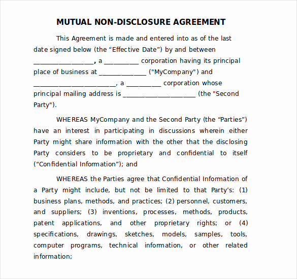 Nda Agreement Template Word Best Of 30 Word Non Disclosure Agreement Templates Free Download