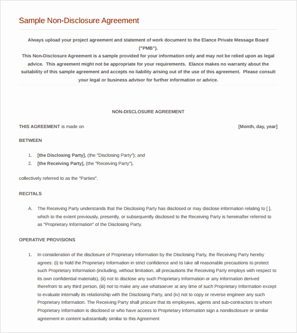 Nda Agreement Template Word Best Of 8 Sample Non Disclosure Agreements