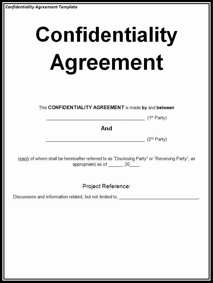 Nda Agreement Template Word Best Of Confidentiality Agreement Template