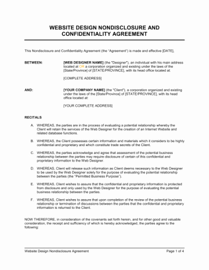 Nda Agreement Template Word Lovely 6 Non Disclosure Agreement Templates Excel Pdf formats