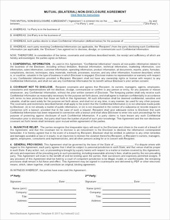 Nda Agreement Template Word New Download A Free Non Disclosure Agreement Nda or