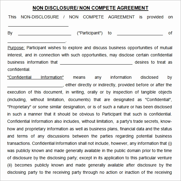 Nda Agreement Template Word New Non Pete Agreement 7 Free Pdf Doc Download
