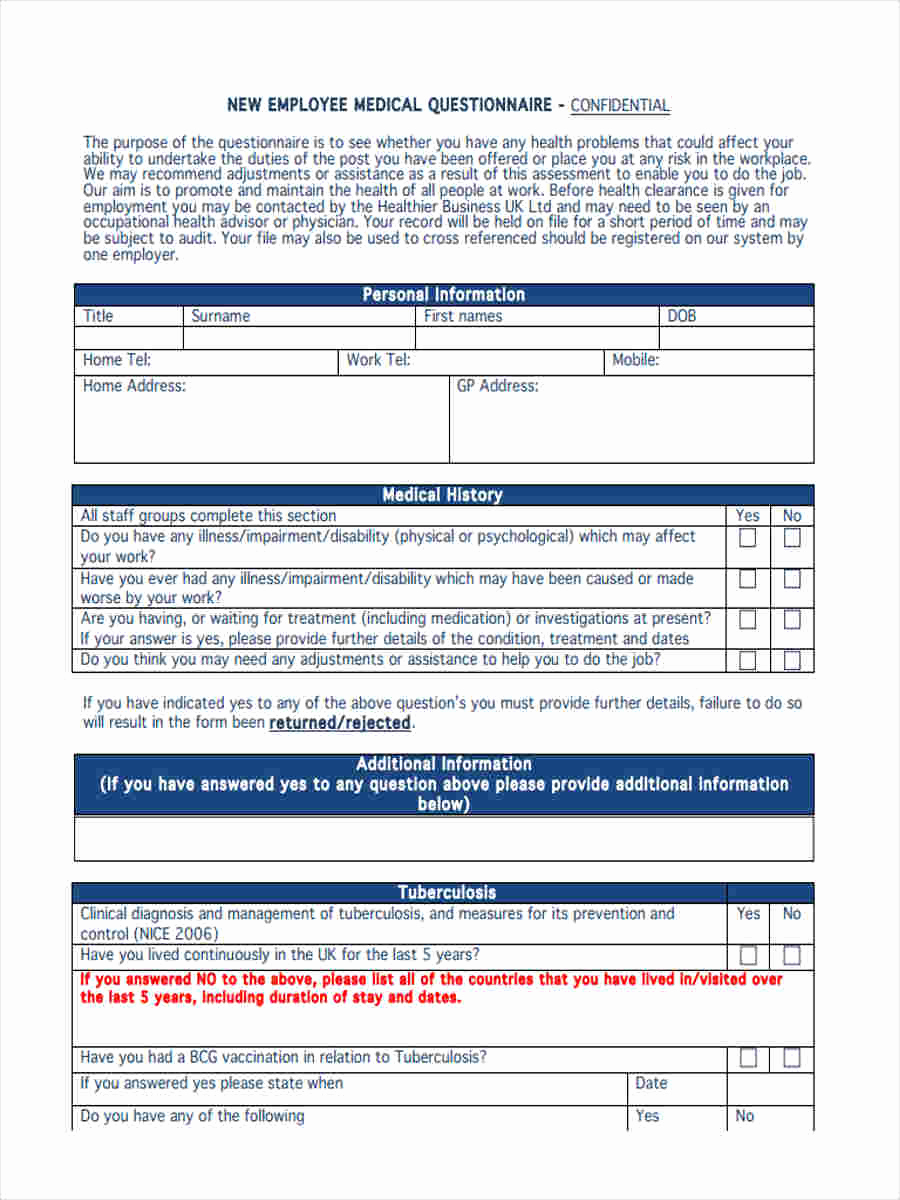 New Employee Information form Awesome 6 Medical Questionnaire form Sample Free Sample