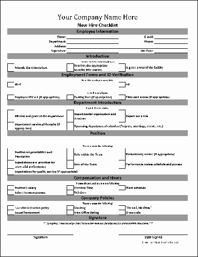New Employee Information form Awesome Free Personalized New Hire Checklist From formville