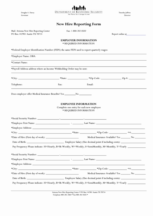New Employee Information form Elegant Arizona New Hire Reporting form Printable Pdf