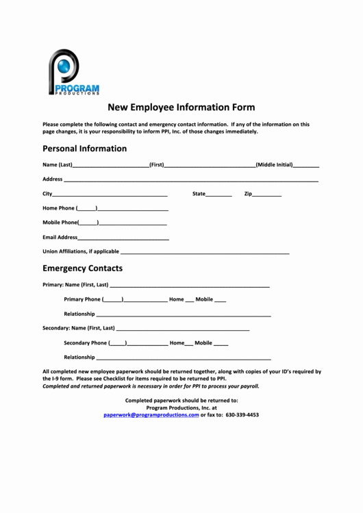 New Employee Information form Inspirational top 15 New Employee Information form Templates Free to