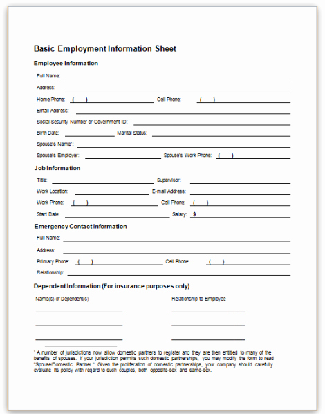 New Employee Information form New This Sample form Collects Basic Information About An