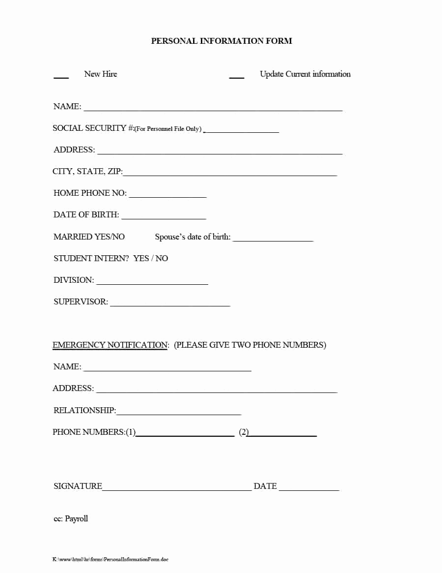 New Employee Information form Unique 47 Printable Employee Information forms Personnel