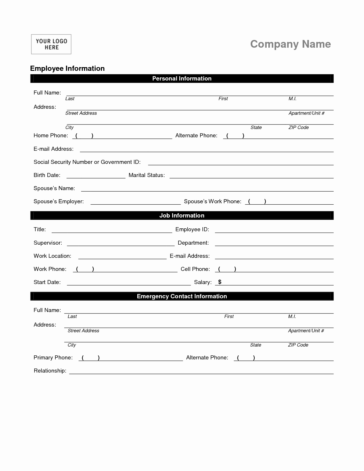 New Employee Information form Unique Employee Personal Information form Template