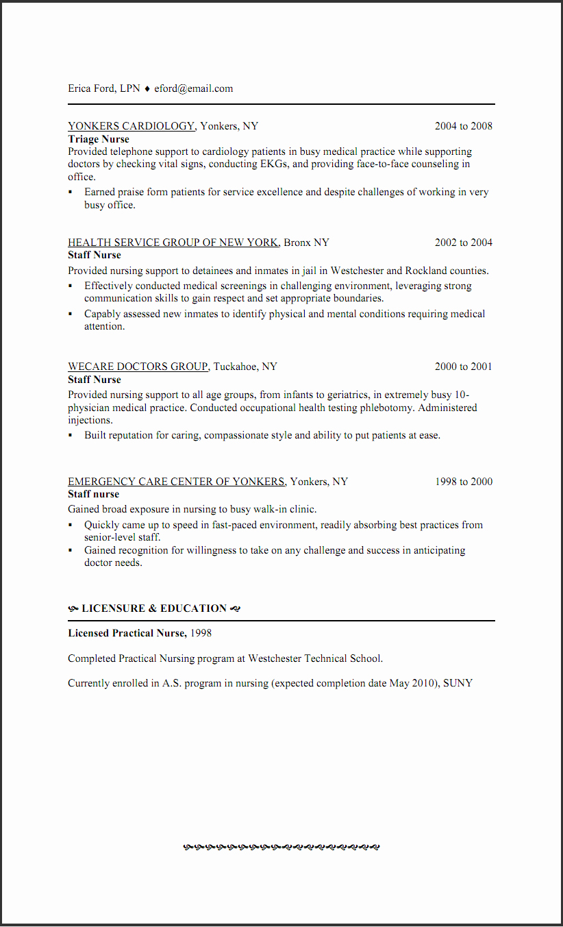 New Graduate Nurse Resume Examples Fresh New Grad Lpn Resume Sample – Perfect Resume format