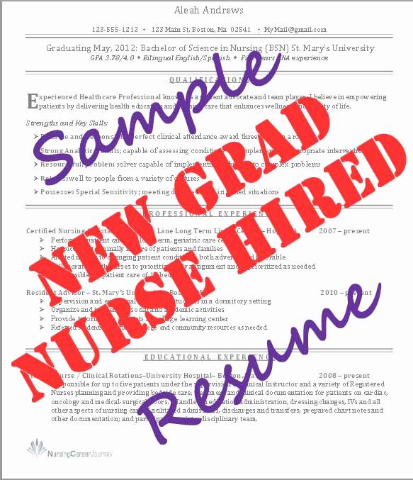 New Graduate Nurse Resume Examples Fresh New Grad Nurse Resume Student Nurse Journeystudent Nurse