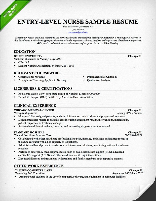 New Graduate Nurse Resume Examples Fresh Nursing Resume Sample & Writing Guide