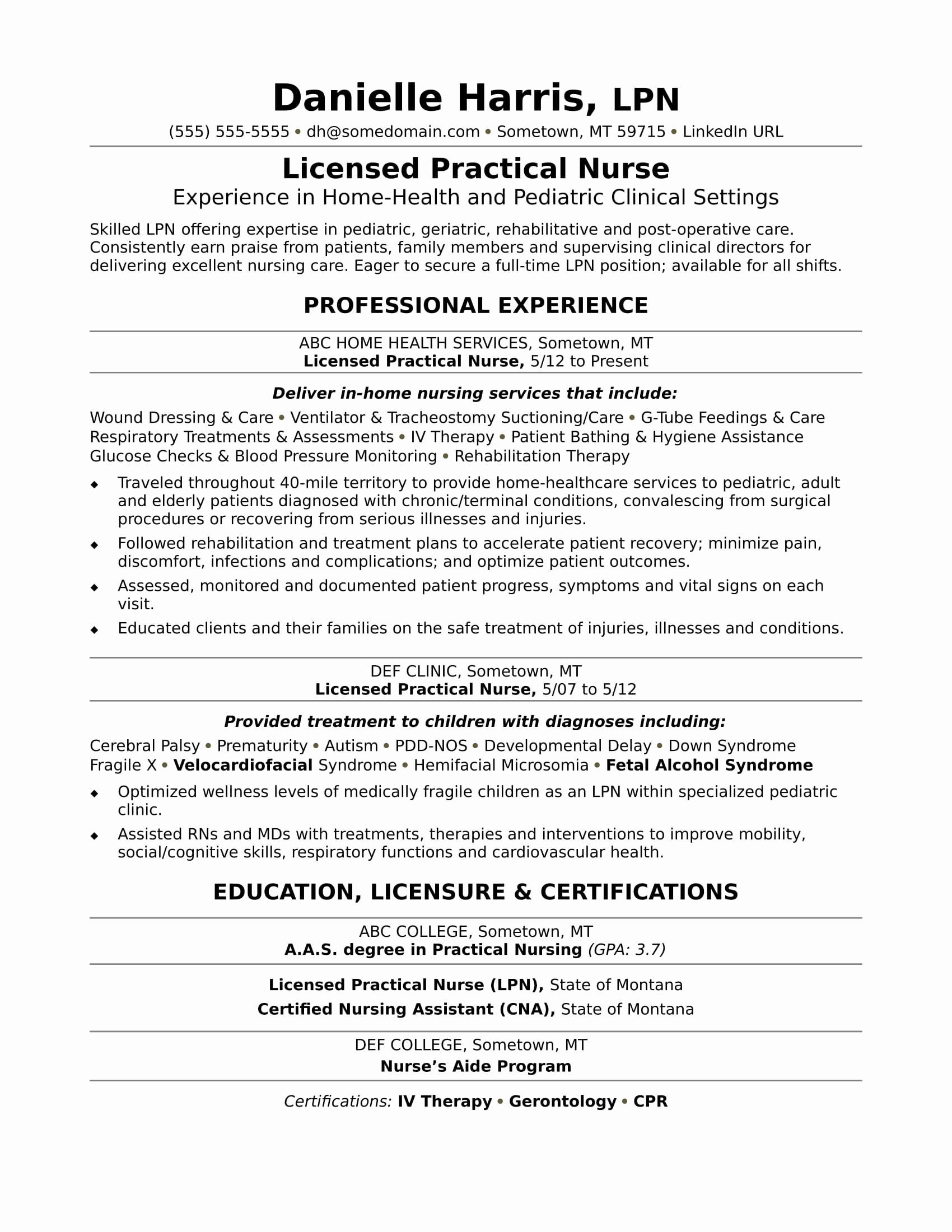 New Graduate Nurse Resume Examples Inspirational Licensed Practical Nurse Resume Sample