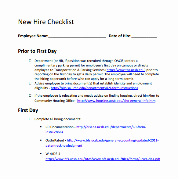 New Hire Checklist Template Awesome New Hire Checklist Sample 14 Documents In Pdf