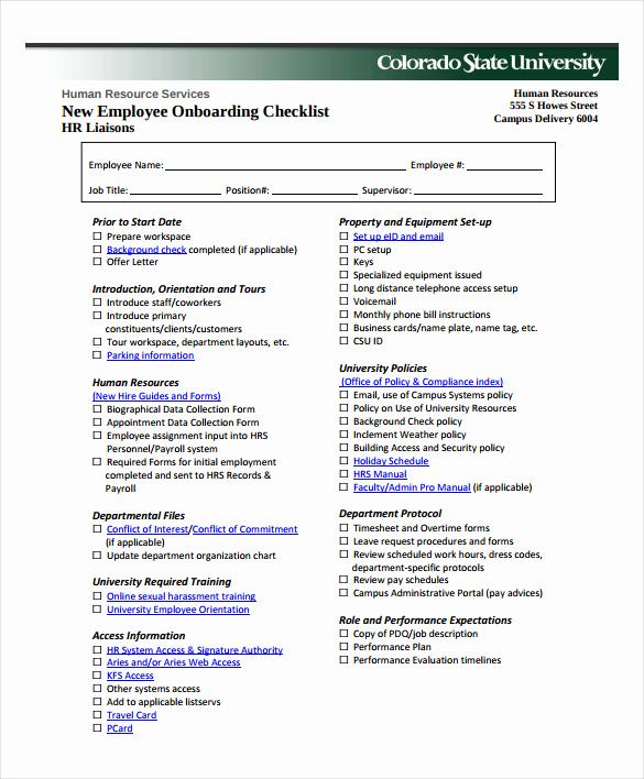 New Hire Checklist Template Beautiful New Hire Checklist Sample 14 Documents In Pdf